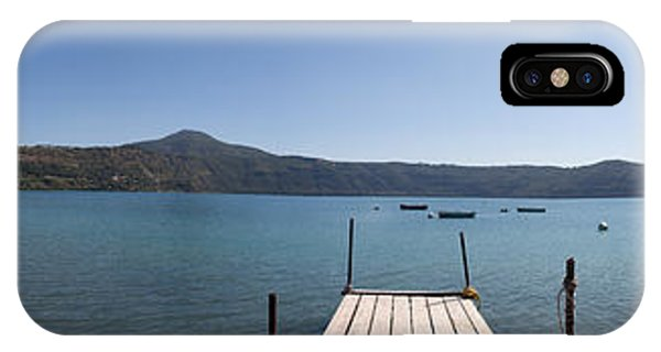 panorama of Lake Albano including pontoon and red rowing boat IPhone Case