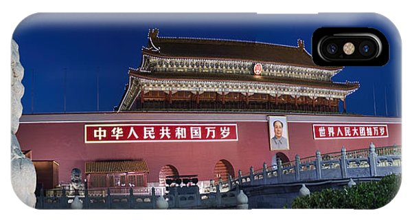 Forbidden City iPhone Case - Panorama Of Lion And Forbidden City Gate Beijing China  by David Smith