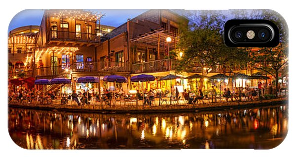 Bald Cypress iPhone Case - Panorama Of San Antonio Riverwalk At Dusk - Texas by Silvio Ligutti