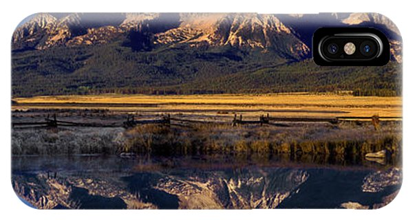 Panorama Reflections Sawtooth Mountains Nra Idaho IPhone Case
