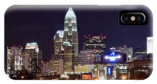 Bobcats iPhone Case - Panoramic Charlotte Night by Frozen in Time Fine Art Photography