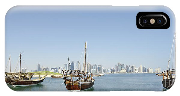 Panoramic Dhows And Qatar Skyline IPhone Case