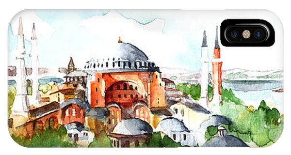 Panoramic Hagia Sophia In Istanbul IPhone Case