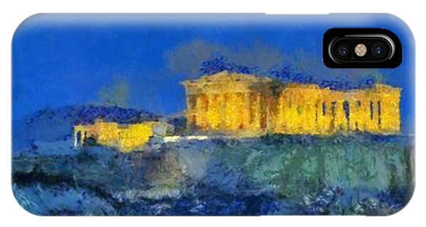 Panoramic Painting Of Acropolis In Athens IPhone Case