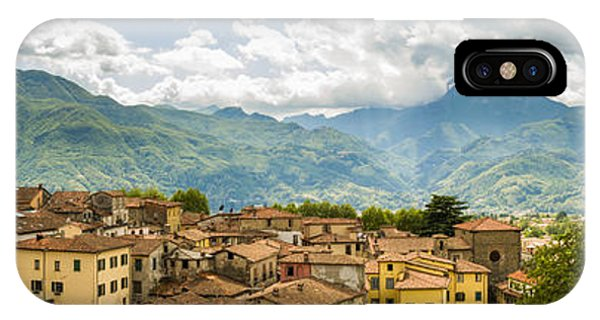Panoramic View From Barga In Italy Of The Appeninies IPhone Case