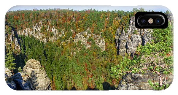 Panoramic View Of The Elbe Sandstone Mountains IPhone Case