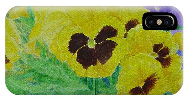 Pansies Colorful Flowers Floral Garden Art Painting Bright Yellow Pansy Original  IPhone Case