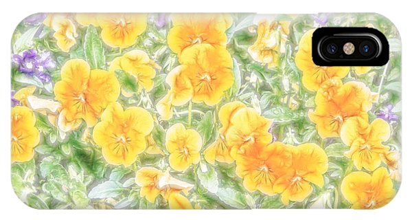 IPhone Case featuring the digital art Pansies by Photographic Art by Russel Ray Photos