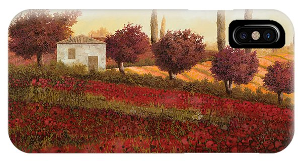 Poppies iPhone Case - Papaveri In Toscana by Guido Borelli