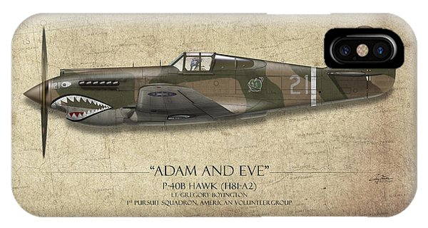 Hawk iPhone Case - Pappy Boyington P-40 Warhawk - Map Background by Craig Tinder