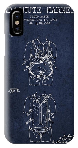 Parachute Harness Patent From 1922 - Navy Blue IPhone Case
