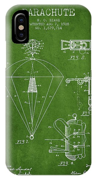 Parachute Patent From 1928 - Green IPhone Case