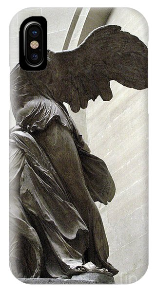 The Louvre iPhone Case - Paris Angel Louvre Museum- Winged Victory Of Samothrace by Kathy Fornal