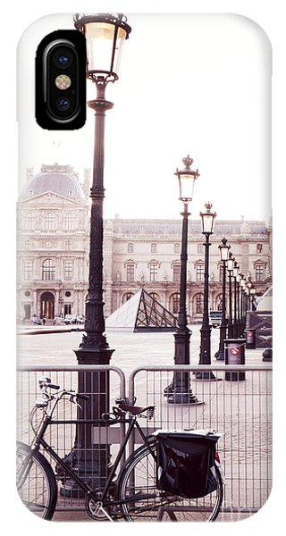 Louvre iPhone Case - Paris Bicycle Louvre Museum - Paris Bicycle Street Lantern - Paris Bicycle Louvre Museum Street Lamp by Kathy Fornal
