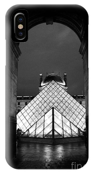 The Louvre iPhone Case - Paris Black And White Louvre Museum Art - Louvre Black And White Pyramid Night Lights And Arch by Kathy Fornal