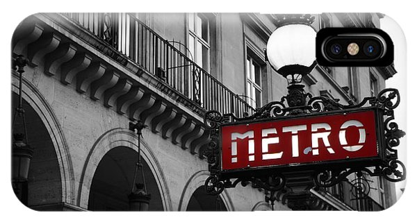 Paris Metro iPhone Case - Paris Black And White Metro Sign Photo - Paris Metro Sign Architecture Art Deco by Kathy Fornal