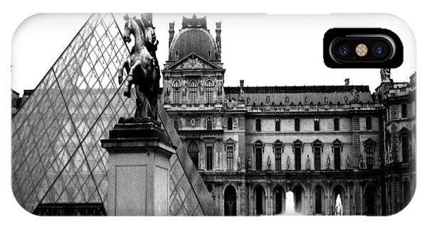 Louvre iPhone Case - Paris Black And White Photography - Louvre Museum Pyramid Black White Architecture Landmark by Kathy Fornal