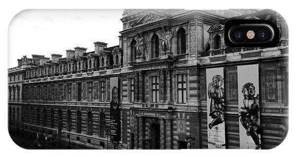 The Louvre iPhone Case - Paris Black And White Vintage Louvre Photography - Paris Louvre Museum Architecture  by Kathy Fornal