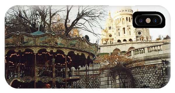 Carousel iPhone Case - Paris Carousel Merry Go Round Montmartre - Carousel At Sacre Coeur Cathedral  by Kathy Fornal