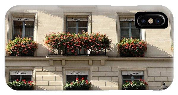 Window Shopping iPhone Case - Paris Cartier Window Boxes - Paris Cartier Windows And Flower Boxes - Cartier Paris Building  by Kathy Fornal