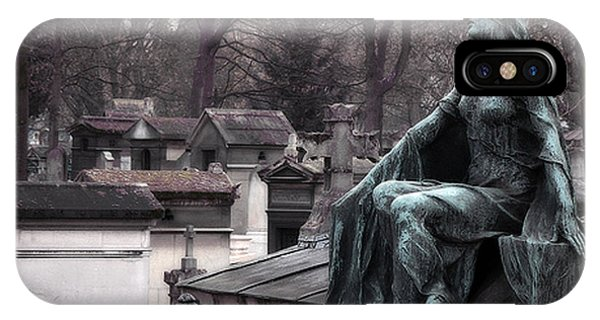 Chaise iPhone Case - Paris Cemetery Art Sculptures - Female Grave Mourning Figure Monument - Montmartre Cemetery by Kathy Fornal