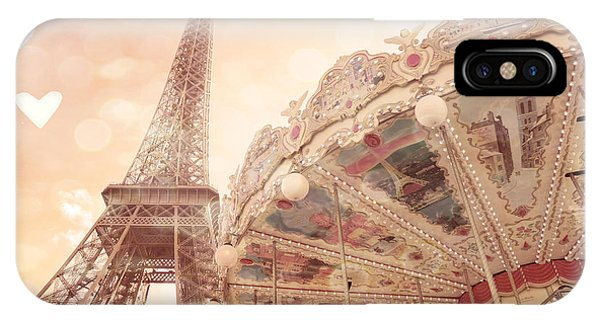 Carousel iPhone Case - Paris Dreamy Eiffel Tower And Carousel With Hearts - Paris Sepia Eiffel Tower And Carousel Photo by Kathy Fornal