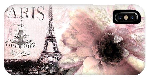 Cute iPhone Case - Paris Eiffel Tower Montage - Paris Romantic Pink Sepia Eiffel Tower Flower French Cottage Decor  by Kathy Fornal