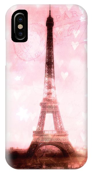 Girls In Pink iPhone Case - Paris Eiffel Tower Pink With Hearts And Stars - Paris Pink Eiffel Tower Romantic Pink Art by Kathy Fornal