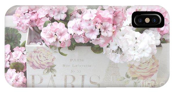 Paris Pink Flowers, Parisian Shabby Chic Paris Flower Box - Paris Floral Decor IPhone Case
