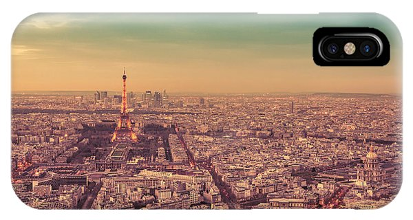 City Sunset iPhone Case - Paris - Eiffel Tower And Cityscape At Sunset by Vivienne Gucwa