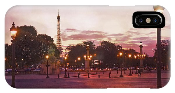 Concorde iPhone Case - Paris Eiffel Tower Place De La Concorde Evening Pink Sunset Lanterns - Paris Pink Lantern Lights by Kathy Fornal