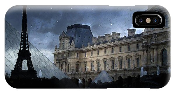 The Louvre iPhone Case - Paris Eiffel Tower With Louvre Museum Montage Photo Painting - Paris Architecture And Landmarks  by Kathy Fornal