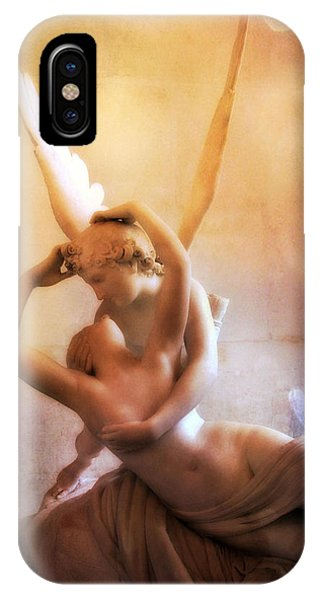 Louvre iPhone Case - Paris Eros And Psyche Louvre Museum- Musee Du Louvre Angel Sculpture - Paris Angel Art Sculptures by Kathy Fornal