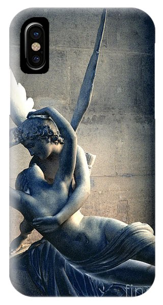 The Louvre iPhone Case - Paris Eros And Psyche Romantic Lovers - Paris In Love Eros And Psyche Louvre Sculpture  by Kathy Fornal