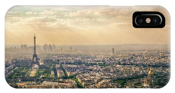 Rooftops iPhone Case - Paris, France by Mohamed Kazzaz