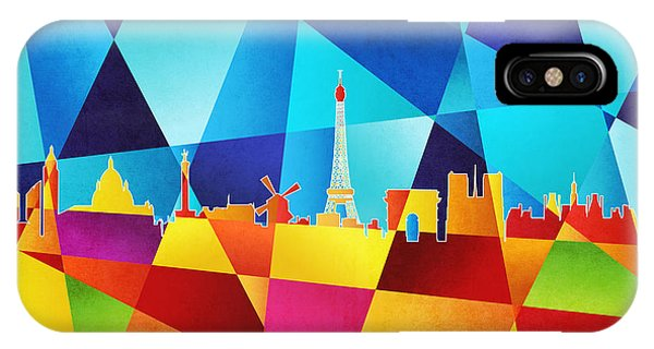 Contemporary Abstract iPhone Case - Paris France Skyline by Michael Tompsett