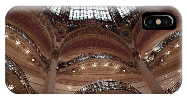 Window Shopping iPhone Case - Paris Galeries Lafayette Stained Glass Ceiling Dome - Paris Architecture Glass Ceiling Dome Balcony by Kathy Fornal