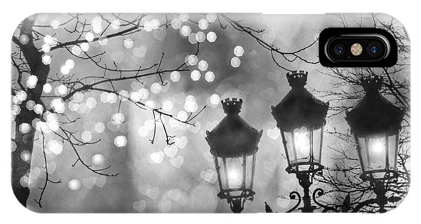 Street Light iPhone Case - Paris Christmas Sparkle Lights Street Lanterns - Paris Holiday Street Lamps Black And White Lights by Kathy Fornal