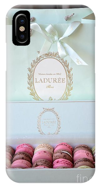 Paris Laduree Macarons - Dreamy Laduree Box Of French Macarons With Laduree Bag  IPhone Case
