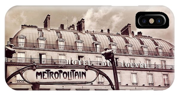 Paris Metro iPhone Case - Paris Louvre Metropolitain Sign At The Hotel Du Louvre - Paris Metro Sepia Art Deco Sign by Kathy Fornal