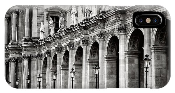 The Louvre iPhone Case - Paris Louvre Museum Architecture Street Lamps Lanterns - Louvre Museum Black And White  by Kathy Fornal