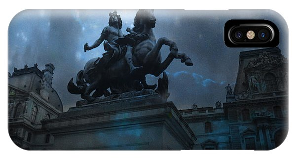 The Louvre iPhone Case - Paris Louvre Museum Blue Starry Night - King Louis Xiv Monument At Louvre Museum by Kathy Fornal