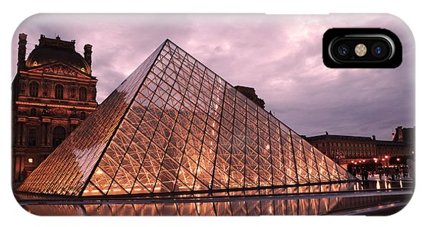 The Louvre iPhone Case - Paris Louvre Museum Dusk Twilight Night Lights - Louvre Pyramid Triangle Night Lights Architecture  by Kathy Fornal