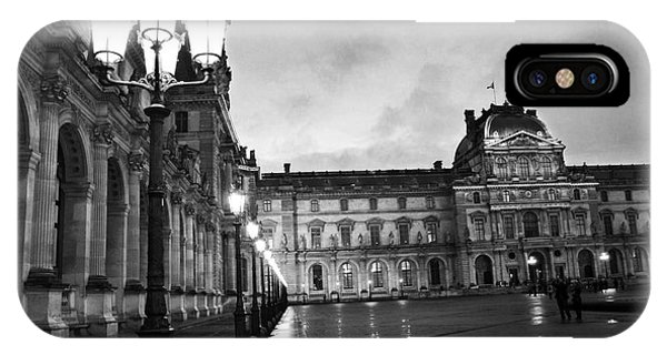 The Louvre iPhone Case - Paris Louvre Museum Lanterns Lamps - Paris Black And White Louvre Museum Architecture by Kathy Fornal