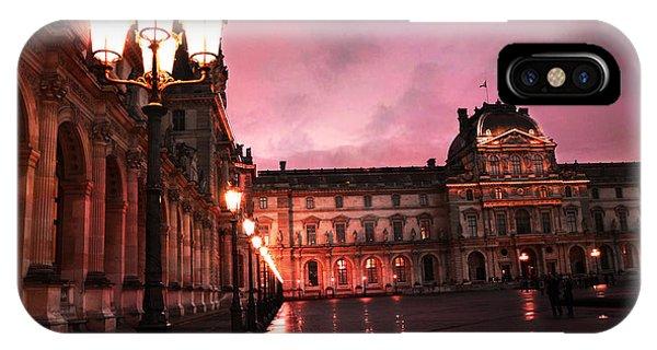 The Louvre iPhone Case - Paris Louvre Museum Night Architecture Street Lamps - Paris Louvre Museum Lanterns Night Lights by Kathy Fornal