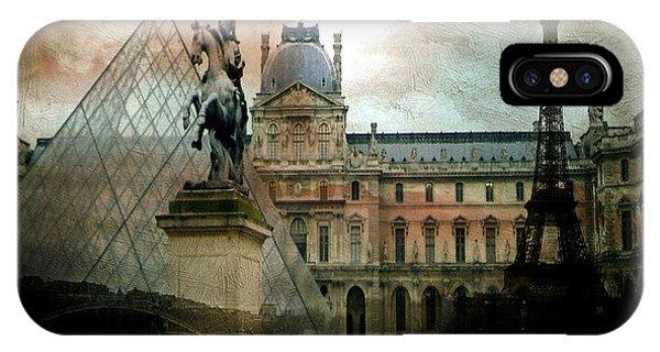 The Louvre iPhone Case - Paris Louvre Museum Pyramid Architecture - Eiffel Tower Photo Montage Of Paris Landmarks by Kathy Fornal