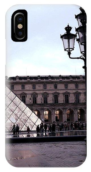 The Louvre iPhone Case - Paris Louvre Museum Pyramid - Paris At Dusk Evening - Paris Street Lamps Lanterns At Louvre by Kathy Fornal