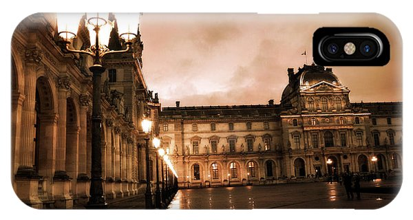 The Louvre iPhone Case - Paris Louvre Museum Sepia Night Lights Street Lamps - Paris Sepia Louvre Museum Night Photography by Kathy Fornal