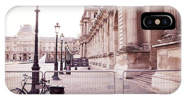 The Louvre iPhone Case - Paris Louvre Museum Street Lamps Bicycle Street Photo - Paris Romantic Louvre Architecture  by Kathy Fornal