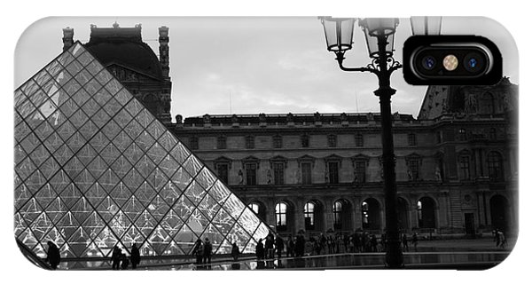 The Louvre iPhone Case - Paris Louvre Pyramid Black And White Fine Art Print - Louvre Musem Pyramid With Lanterns by Kathy Fornal